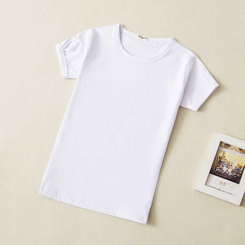 68b2c1b3 ... 2018 Summer Girls Solid Color Short-Sleeve Tshirts Kids T-Shirt Baby  Child Cotton ...