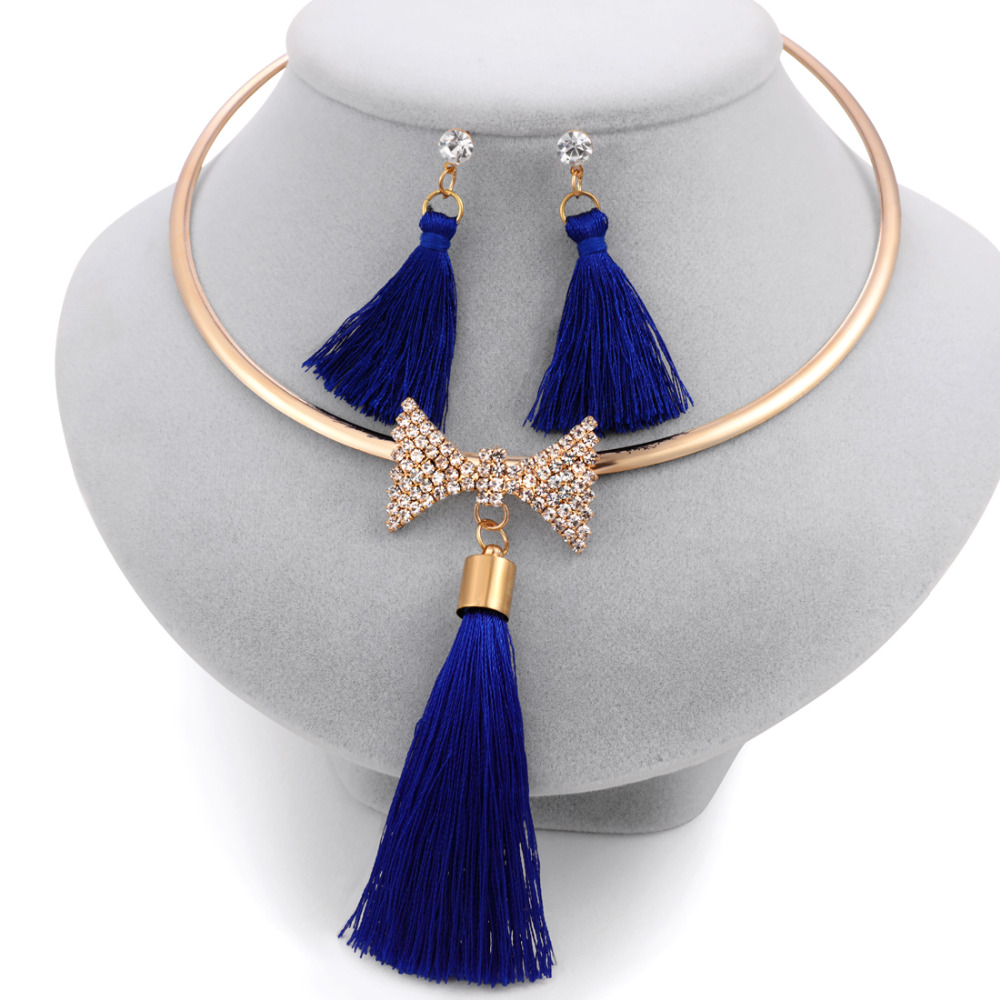 Elegant Tassel Bridal Jewelry Sets Gold Color Crystal Bow Chocker Necklaces Earrings Sets Wedding Jewelry For Women Gift