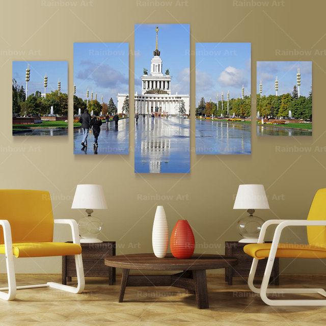 5 Panel Russian Scenery Wall Art Picture Painting Canvas Quadros Home Decoration Well Decor Prints On Unframed RB0014