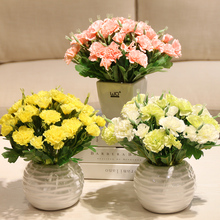 Simulation carnations plants Potted set Artificial Silk flowers Small bonsai green pot culture Mother's day giftHome D