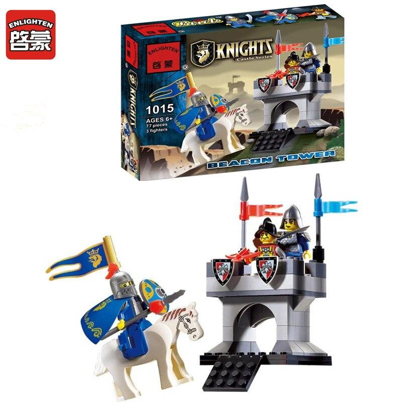 1015 ENLIGHTEN Knights Castle Series Horse Knight Tower Beacon Model Building Blocks Figure Toys For Children Compatible Legoe