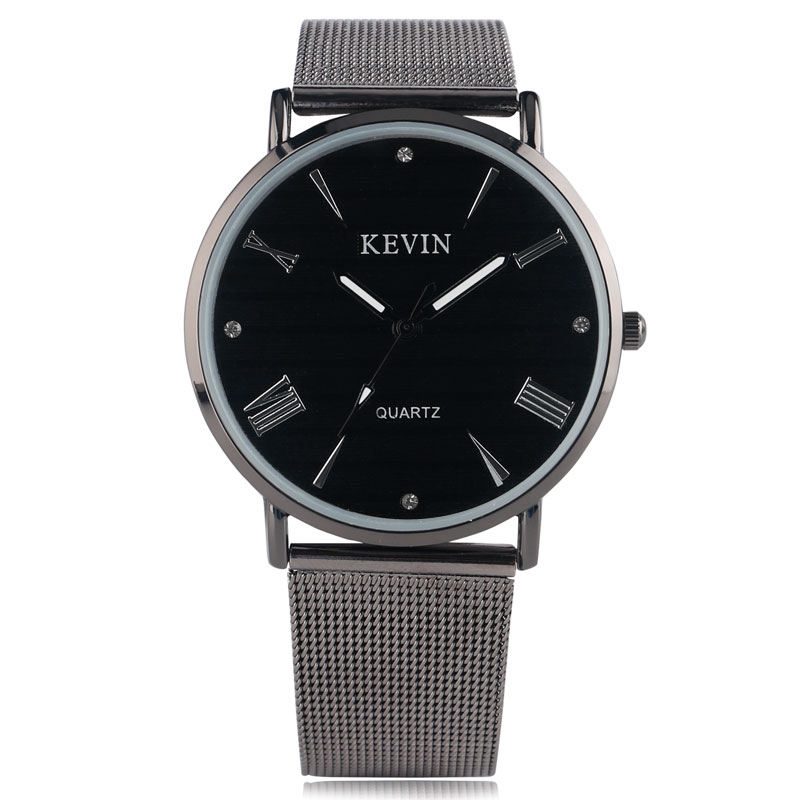 KEVIN Stainless Steel Mesh Band Strap Women Casual Men Modern Business Wrist Watch Brief Rhinestones Sport Trendy Round Dial fashion noctilucent wrist watch modern desgin sport men circle round dial quartz watches stainless steel band strap males reloj
