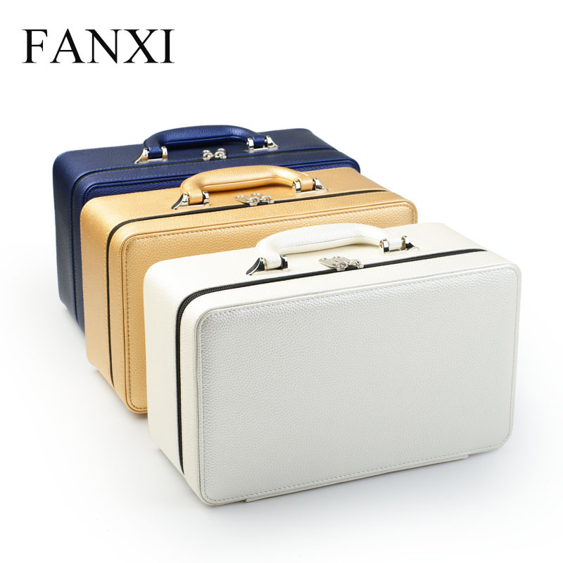 FANXI High Quality Leather Jewelry Box Portable Travel Jewelry Case Ring Necklace Organizer Storage Jewelry Holder