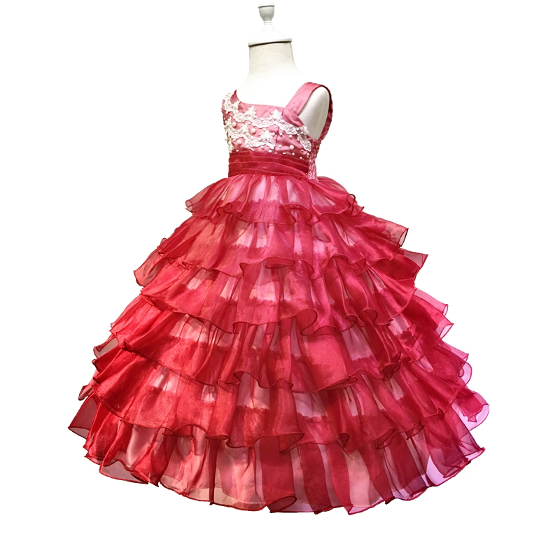 HG Princess Gowns 2-10 Years Girl Pageant Dress Organza 2016 New Arrival Red Flower Girls Dresses For Weddings Kids Evening Gown 2017 new arrival 4t 8t girl party dress organza cotton lining kids pageant ball gown turquoise flower girl dresses for weddings