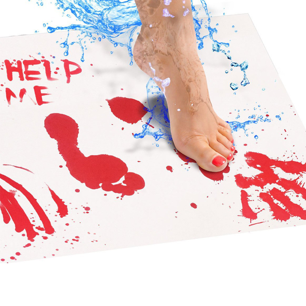 Bloody Bath Mat Color Changing Sheet Turns Red Wet Make You Bleeding Footprints bathroom carpet rug