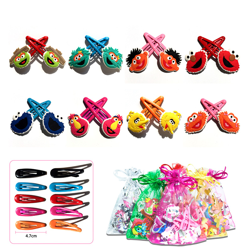 5pairs/lot Sesame Street PVC Soft Baby Girl Hair Accessories Hair Clips Hairpins Flatback   Headwear   High Quality Party Best Gift