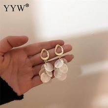 YYW 2019 Korea Fashion Gold Metal Geometric Round Long Pearl Tassel Shell Drop Earrings for Women Sea Beach Wedding Jewelry