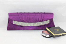 New Vintage Women Bridal Evening Party Clutch Bags Satin Pleated Elegant With Diamond Hasp long Purse