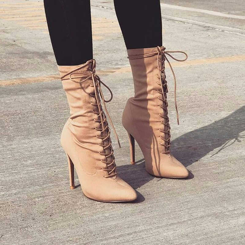 Ankle Boots Thin Heel Ankle Wrap