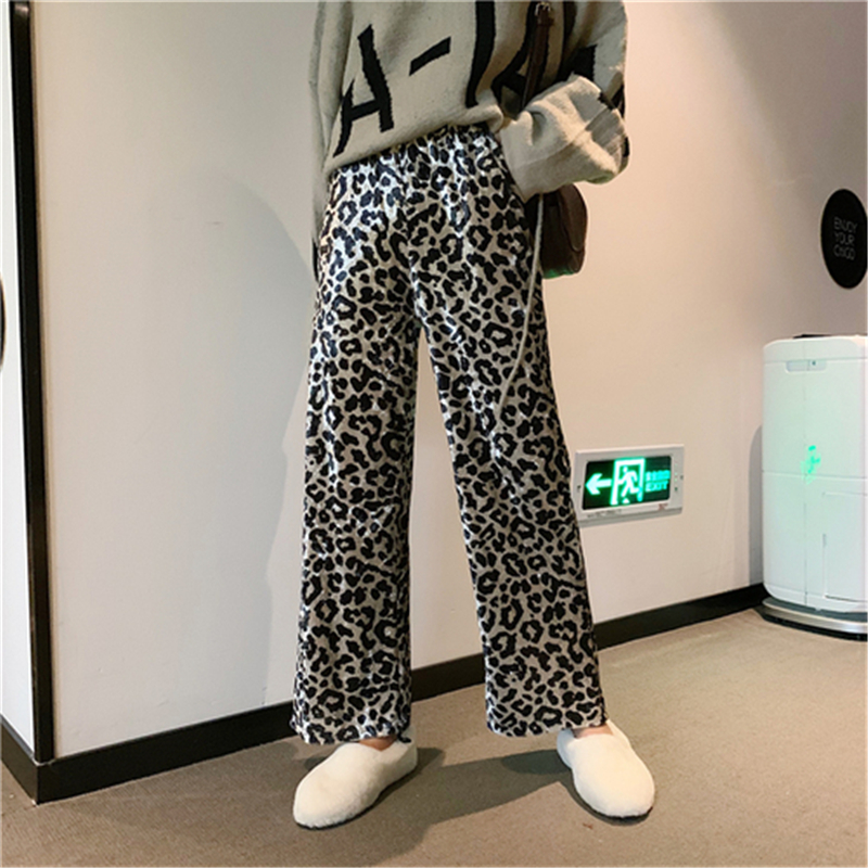 RUGOD Fashion Long Black Trousers Women Leopard Printed Hight Waist Straight Pants Female Casual Full Length Wide Leg Pant Femme