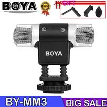 BOYA BY-MM3 Dual Head Stereo Recording Condenser Microphone for iPhone 8 Android Smartphone DSLR Camera DV Livestreaming Video boya by lm10 by lm10 phone audio video recording lavalier condenser microphone for iphone 6 5 4s 4 sumsang galaxy 4 lg g3 xiaomi