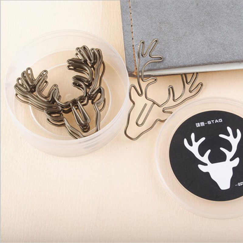 Retro Bronze Deer Head Paperclip Cartoon Animal Metal Paper Clip Child Student School Supplies Office Stationery 8pcs/ Box