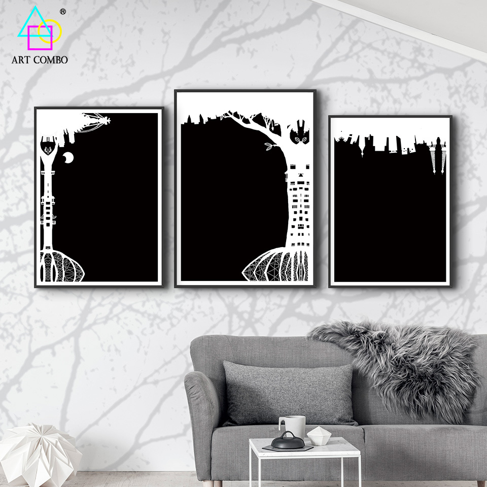 modern creative abstract artwork painting black white city home wall decoration painting on canvas art combo