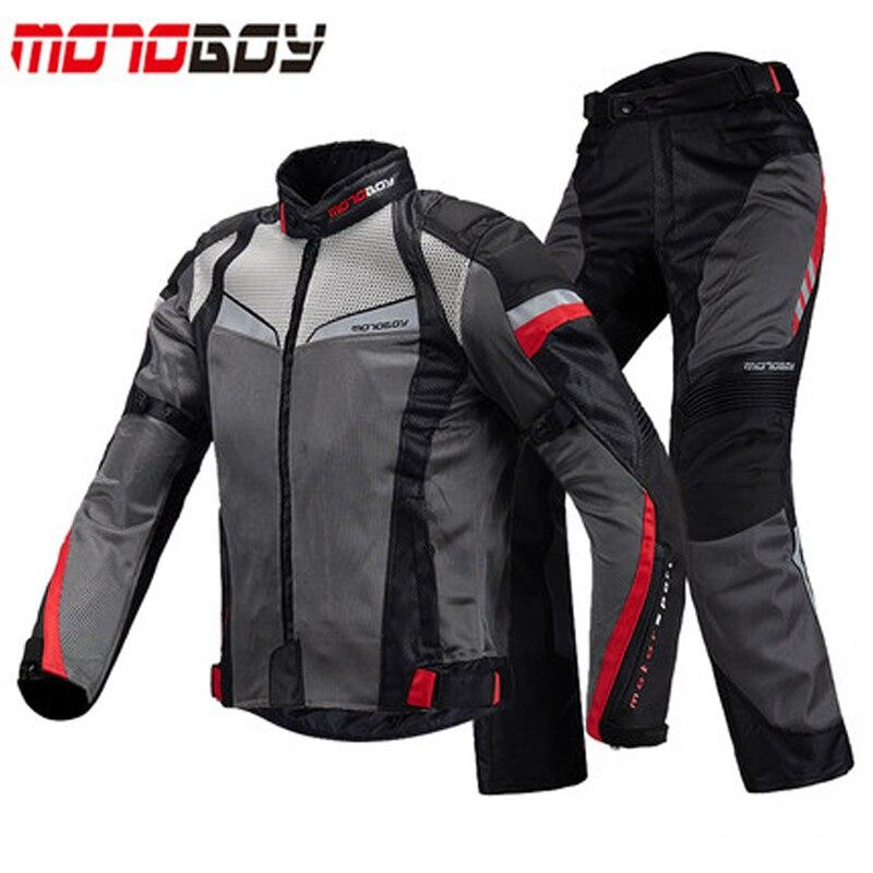 MOTOBOY été respirant moto veste de course et pantalon réfléchissant 600D Oxford vêtements Motocross veste de course