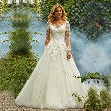 Princess Boho Wedding Dress Sheer Long Sleeve Aplliques A-Line Wedding Dress Vintage Bride Dress vestidos de novia