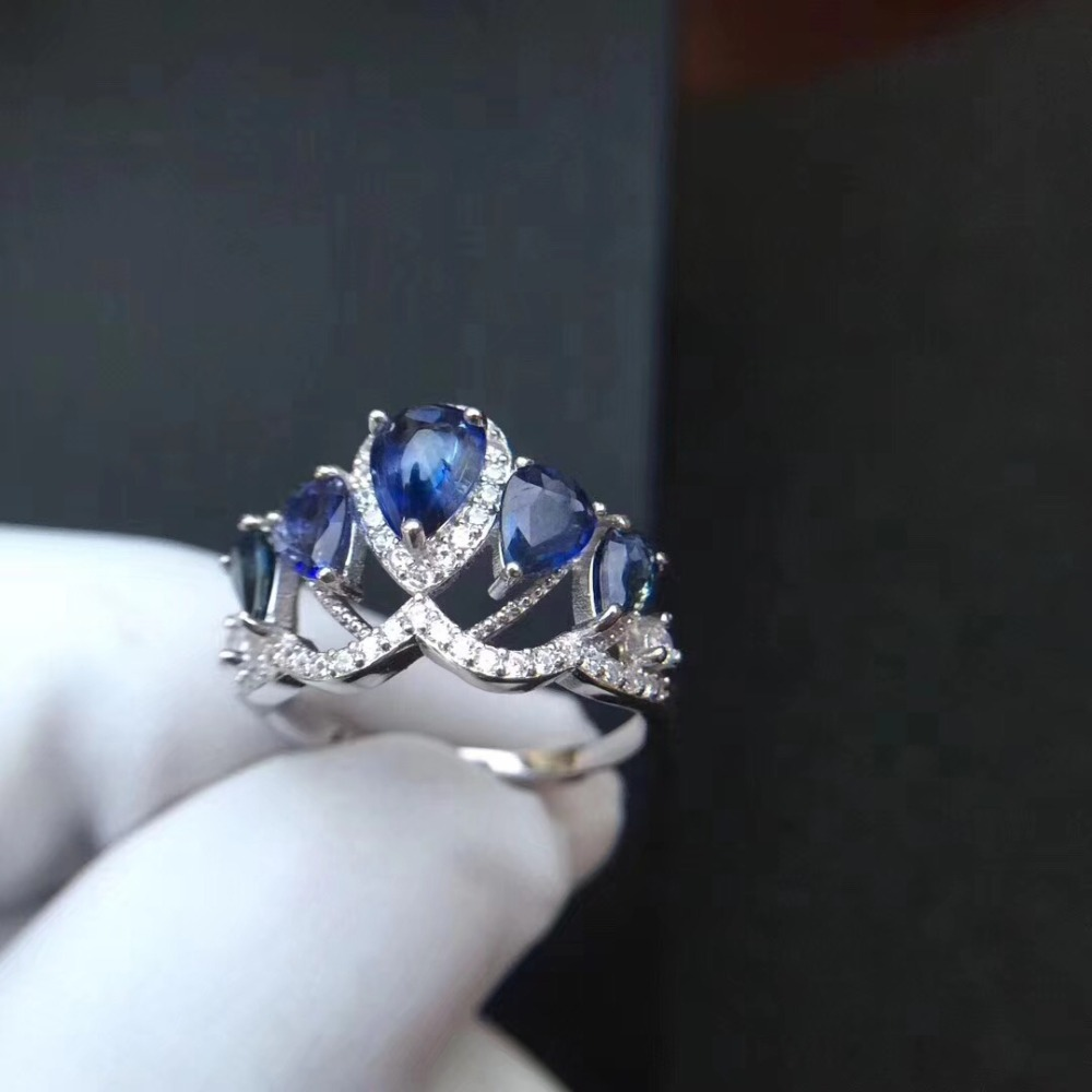 Wedding ring Sapphire ring Natural real blue sapphire 925 sterling silver for your loved Wife цены онлайн