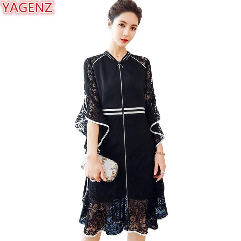 Kadın Giyim'ten Elbiseler'de YAGENZ 5XL Artı boyutu Elbise 2018 Yeni Yaz Dantel Elbiseler Bayan Orta uzunlukta Beş puan kollu Dikiş Rahat Dantel Elbise 1016'da  Grup 1