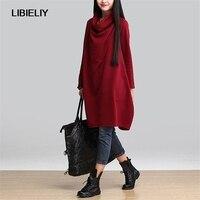 Literary New Women Dress Winter Loose Casual Dresses Vestidos Femininos Fashion Women Clothing Winter Dress C1158