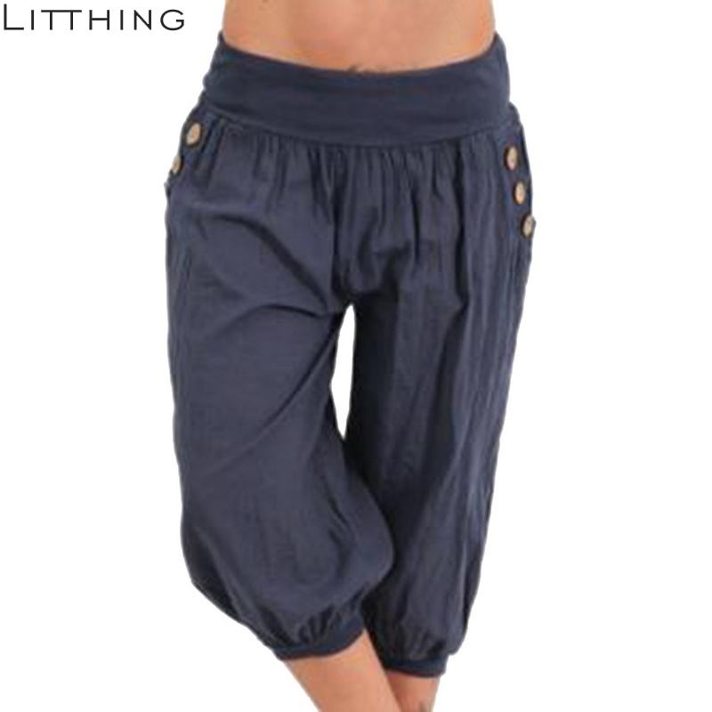 LITTHING Solid Loose   Pants   Women Summer 2018 Loose   Wide     Leg     Pants   Capris Bloomers Trousers Knee Length Female Bottoms Plus Size