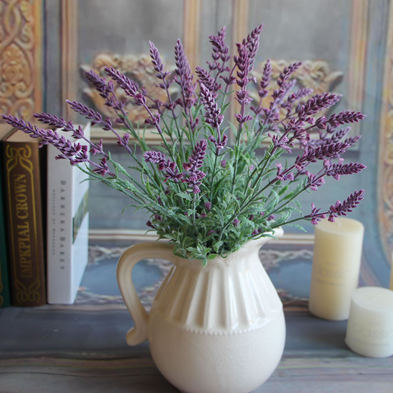 Mini Fresh Green Fake Plants Bouquet Lavender Leaves Grass Wedding ...