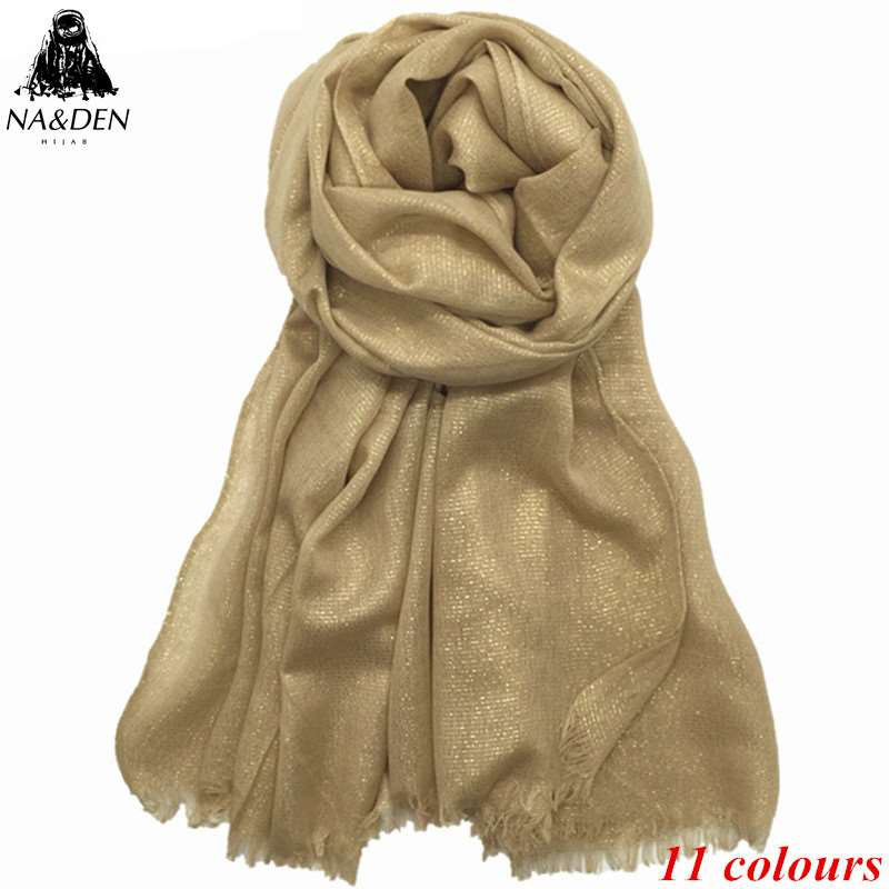 1PC Solid Viscose Scarf With Gold Thread 200*85 Big Size Scarves Luxury Muslim Hijab Wrap Hood Foulard Shawl 10pcs/lot Hot Sale