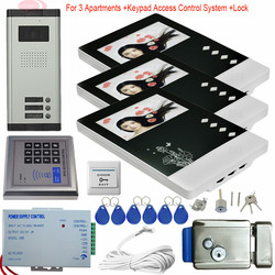 4 3 monitor color video door phone intercom system 3 apartments video intercoms electronic control lock.jpg 250x250