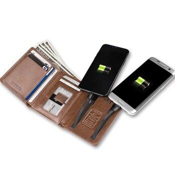 d664f17a5e8d Для мужчин Для женщин Смарт-кошелек с USB для зарядки бумажник с Ipone и  Android Ёмкость 4000 mAh для путешествий кошелек power банк