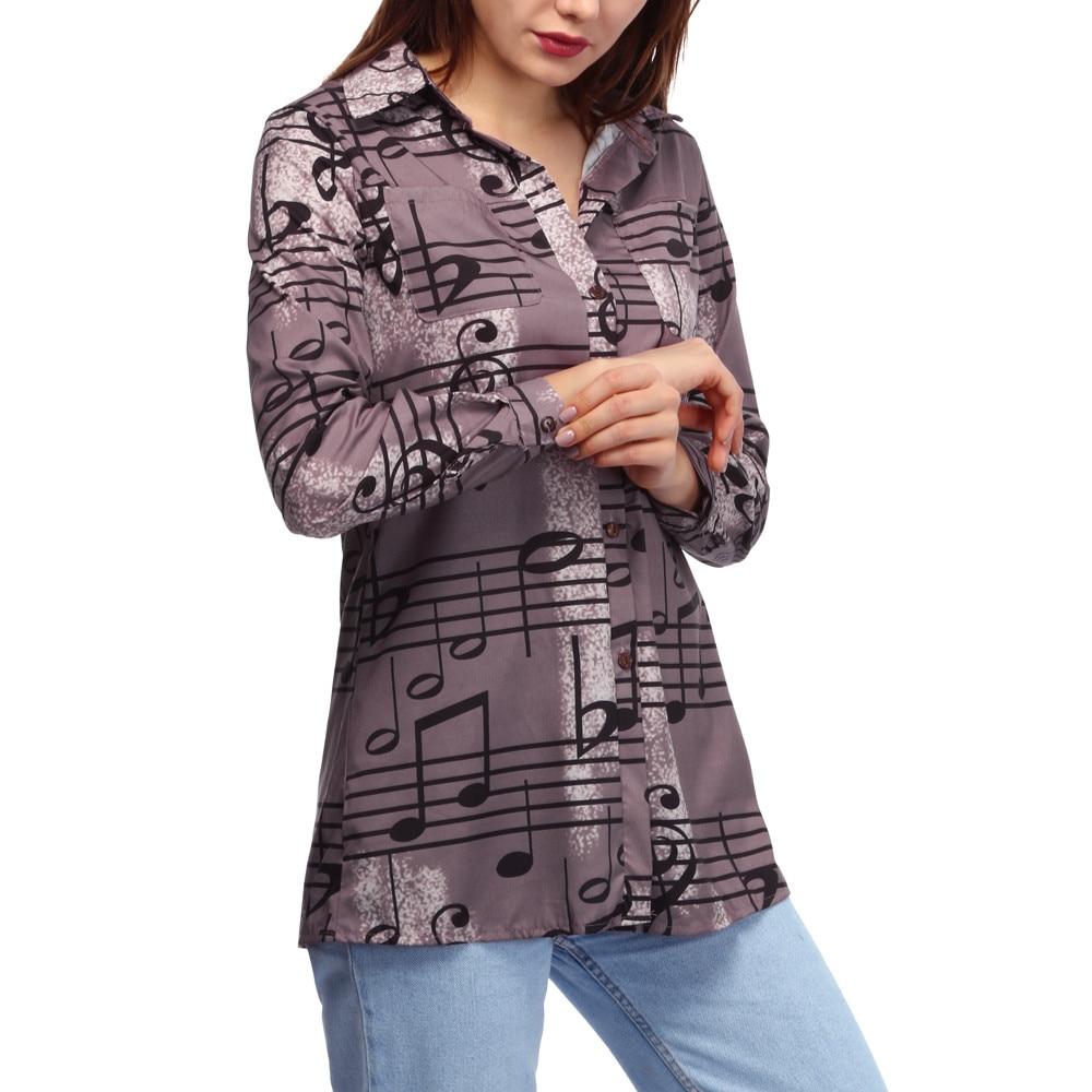 Manches Femme Mode Haut Longues Chemise Note Bouton Col Musicale Vêtements 35 Imprimer Blouse Khaki Blouses Femmes Rabattu Dames nq4BR