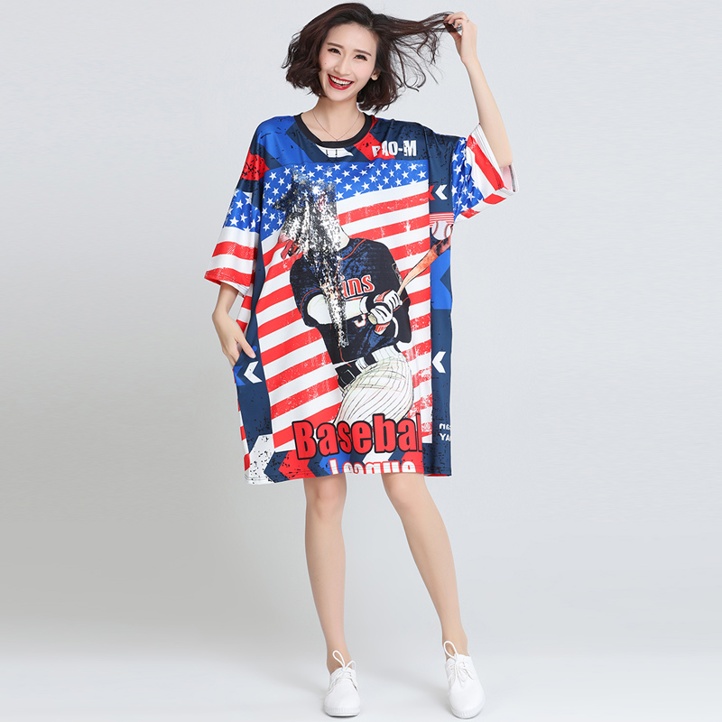 Fashion Women New Novelty America Flag USA Flag Plus Size Sequined ...