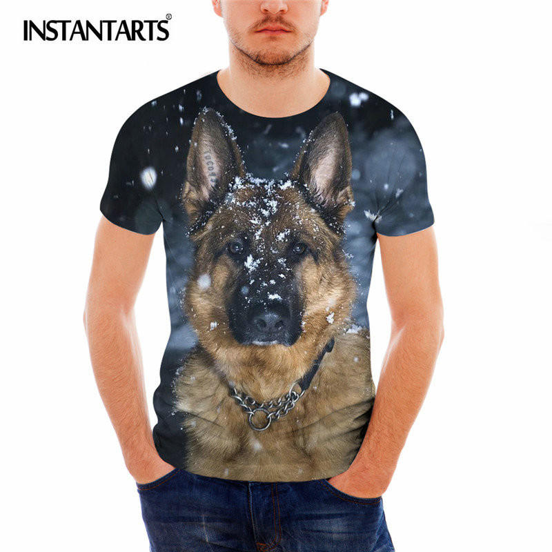 INSTANTARTS Cool German Shepherd Printing Male Round Neck T Shirt Casual Summer Breathable Tee Shirt Man Fashion Polyster Tshirt image
