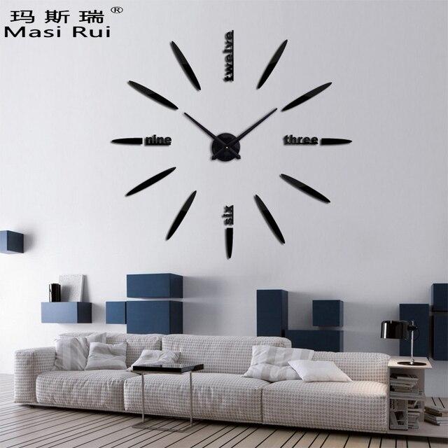 Delightful Neue Heiße Mode 3D Big Size Wanduhr Spiegel Aufkleber DIY Kurze Wohnzimmer  Schöne Kreative Wand Uhr Design Ideas