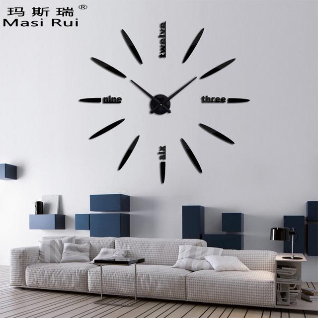 New Hot Fashion 3D big size wall clock mirror sticker DIY brief living room beautiful creative wall watch home decor clocks