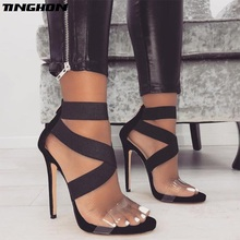 Купить с кэшбэком TINGHON  Sexy Shoes Women Gladiator Sandals Open Toe Stiletto High Heels Fashion Summer Party Wedding Pumps PVC Sandals