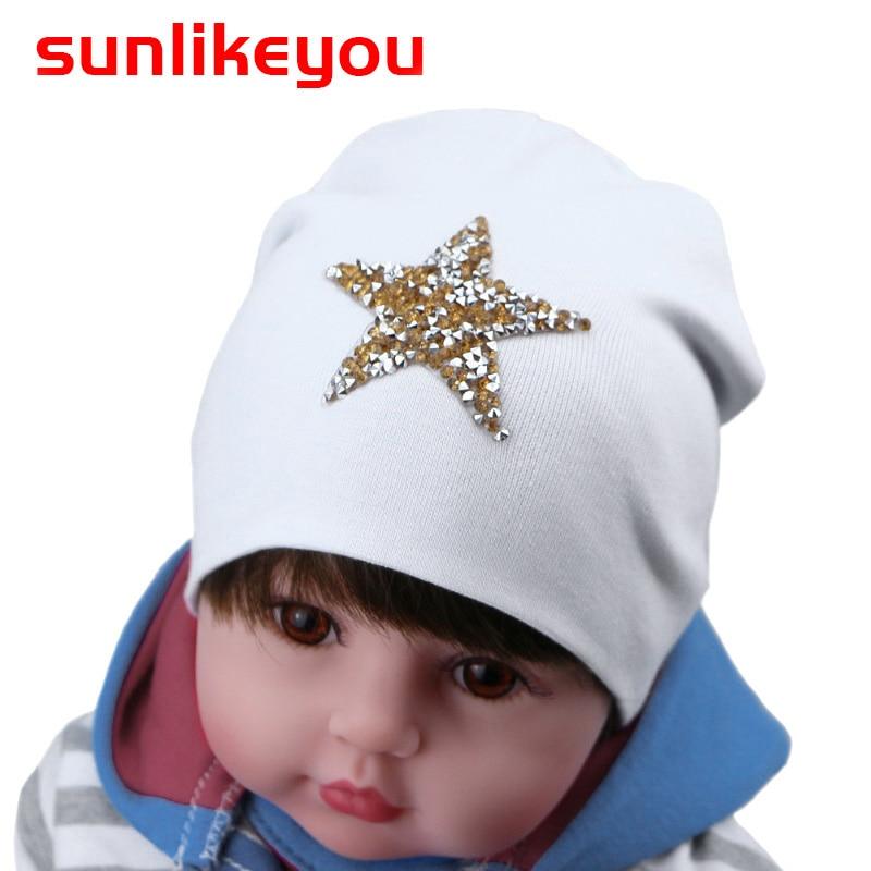 Sunlikeyou Unisex Newborn Winter Cap For Boys Girls Kids Hats Pentagram Rhinestone Cotton Soft Baby Beanie Bonnet Hat