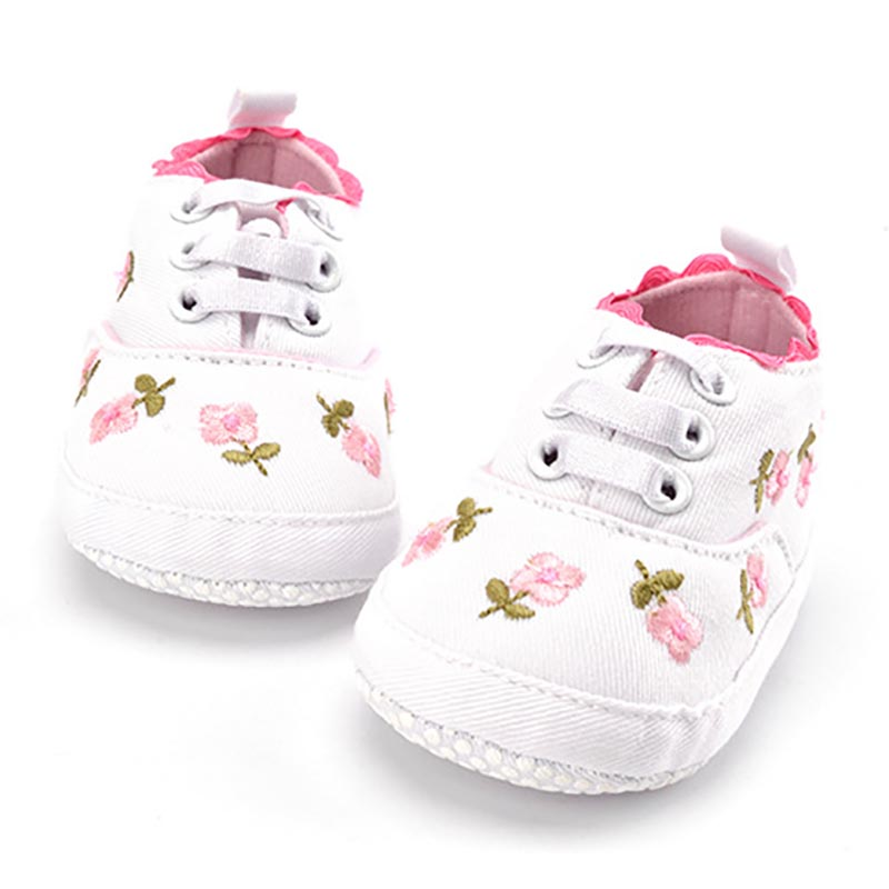 Baby Girl White Lace Floral Embroidered Soft Pre-walker Toddler Kids Shoes 1