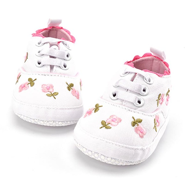 Girls' Cute Floral Cotton Sneakers