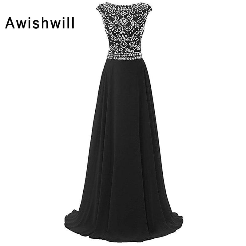 2019 Зашеметяващо официално вечерно облекло Елегантно облекло за парти, блестящи бижута Шифон рокли за специални поводи