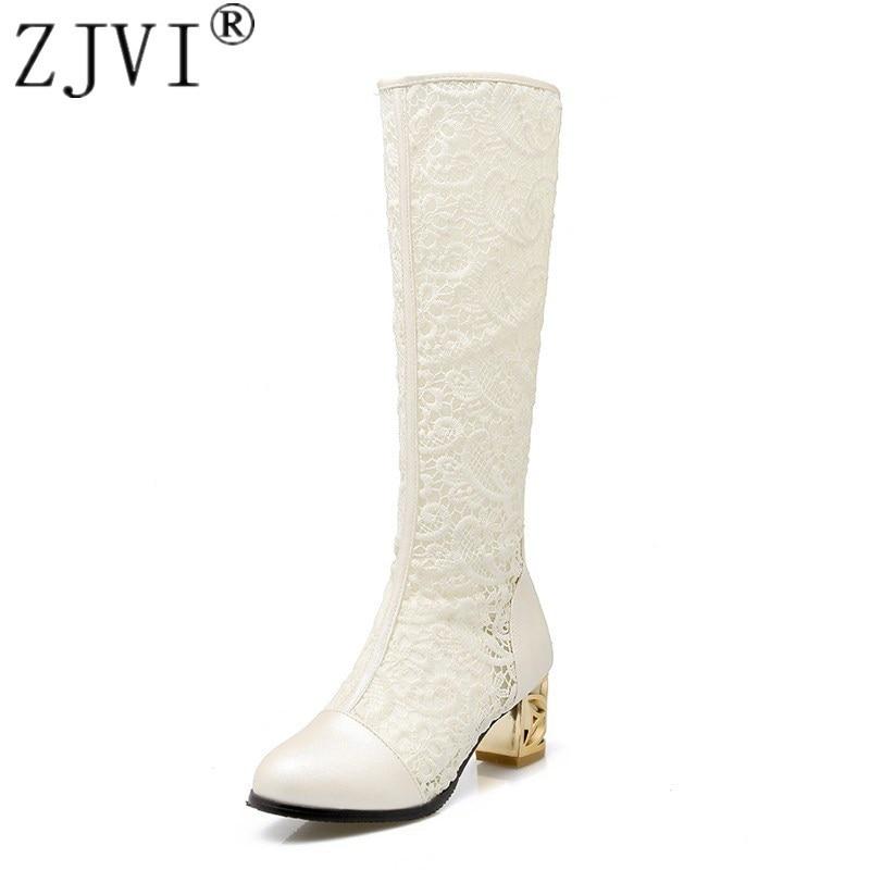 ZJVI women 2018 summer boots womens fashion mesh thick mid heels sandals ladies sandalias woman thigh high boots knee high boot