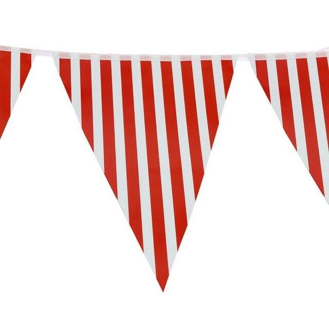 Newest Wedding Banner Red White Strip Paper Bunting Birthday