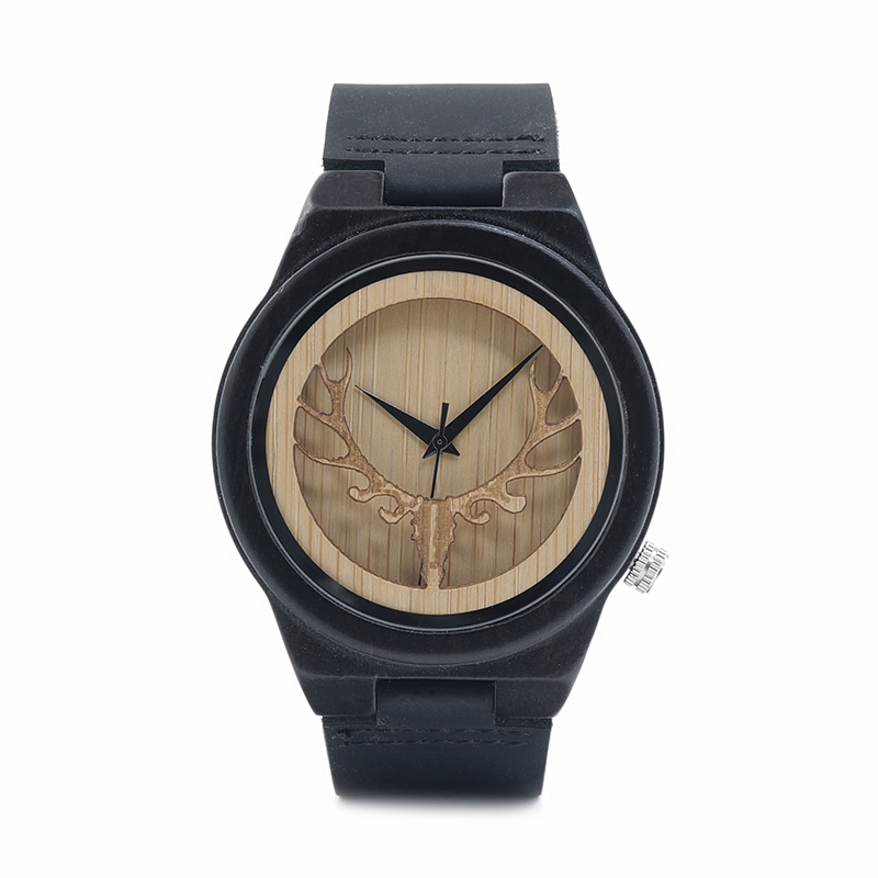 Topdudes.com - Deer Skeleton Black Wood Watches with Leather Band and Wooden Box