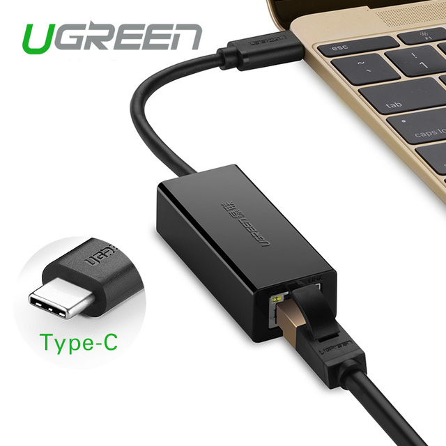 Ugreen usb 3.1 tipo c 10/100 mbps lan adaptador de tarjeta de red externa usb a ethernet de alta velocidad para macbook soporte para windows 8/7