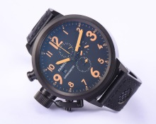 Parnis 50mm Russian military Orange Number Black PVD Case Japan Quartz Movement Chronograph Men Watch