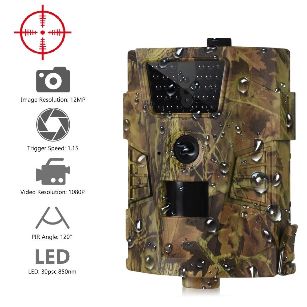Suntekcam HT-001B Cámara sendero 12MP 1080 P 30 piezas LEDs infrarrojos 850nm cámara de caza IP54 impermeable 120 grado ángulo salvaje cámara