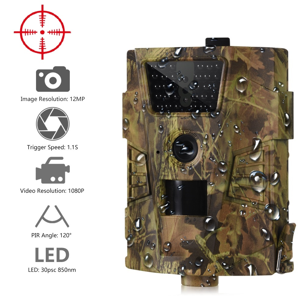 Suntekcam HT-001B Trail Camera 12MP 1080P 30pcs Infrared LEDs 850nm Hunting Camera IP54 Waterproof 120 Degree Angle Wild Camera