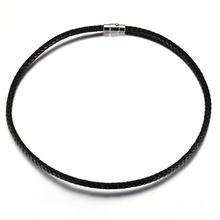 5mm 17.5/ 19.5/21.5 Cool Black Magnetic Buckle Leather Link Chain Stainless Steel Tone Men's Women's Necklace Jewelry Xmas Gift
