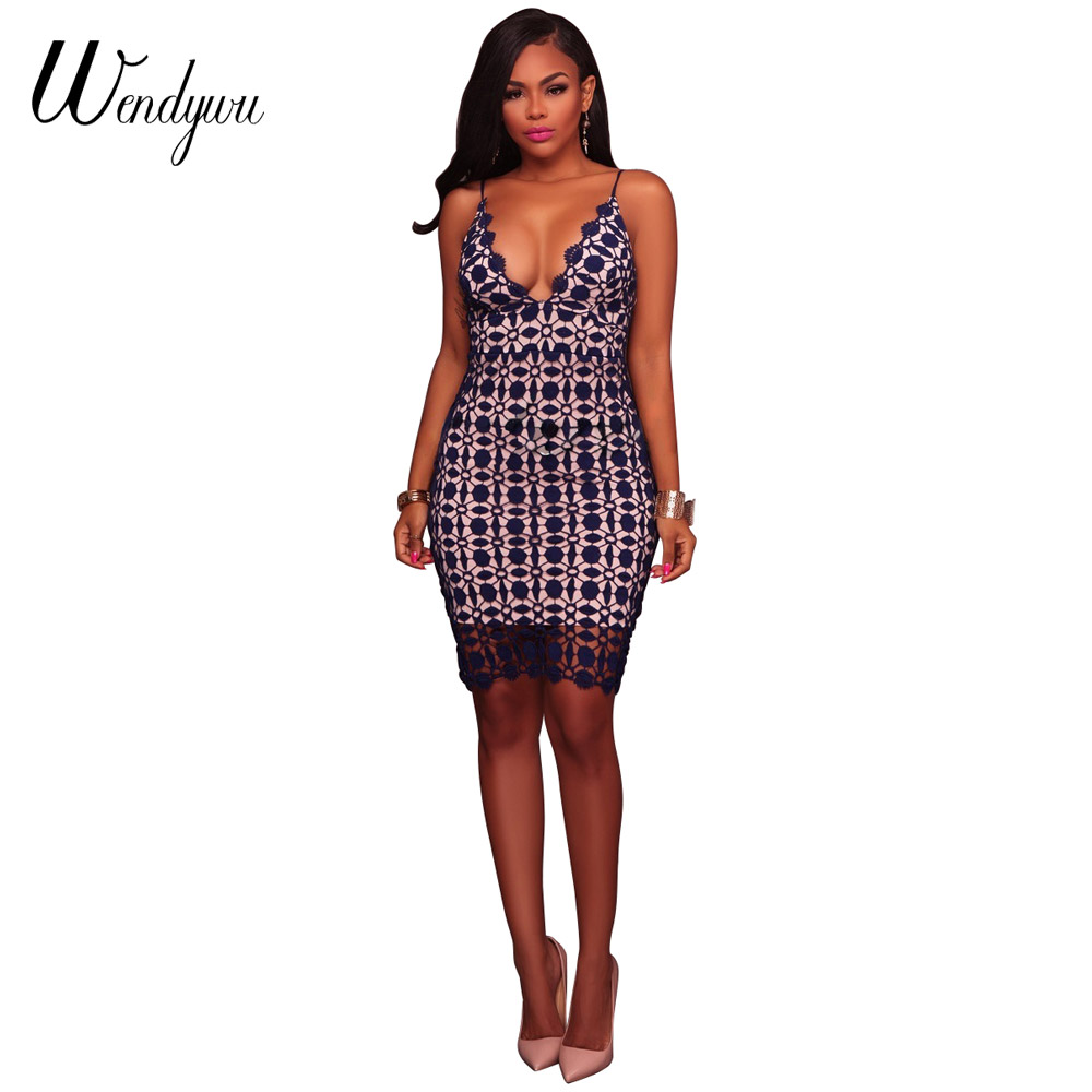 fd68290f406ab Wendywu Special New Women Party Sexy V Neck Spaghetti Strap Geometric Club  Bodycon Mini Dress-in Dresses from Women s Clothing   Accessories on ...