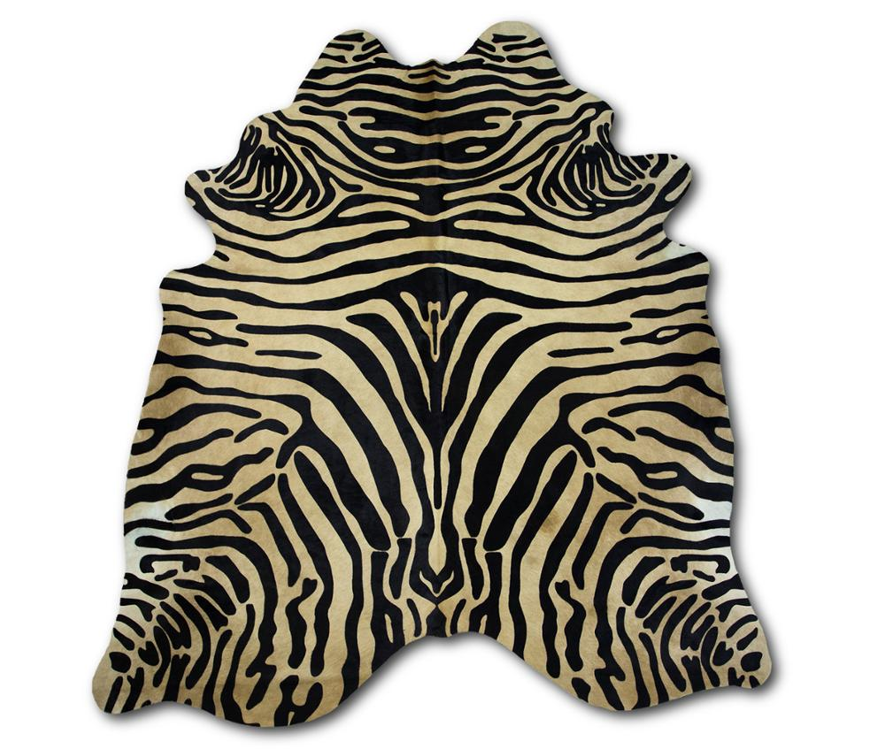 Zerimar Natural Cowhide Rug Zebra Imitation | Size: 78x66 In | Area Rugs For Living Room | Area Rugs Living Room