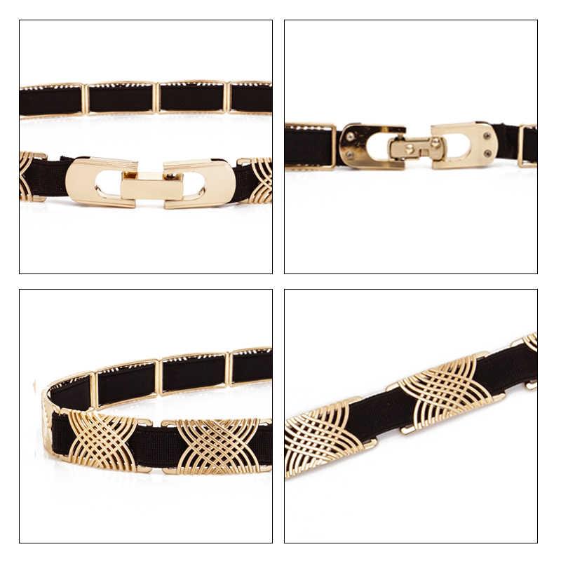 Luxury Metal Elastic Fabric Belts For A Dress High Fashion Geometrical Lines Female Belt Punk Ceinture Elegant Women's Belt
