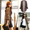 Женская мода Leopard Узорчатое Шифон открыть стежка Batwing Рукавом Топы Один Размер пальто