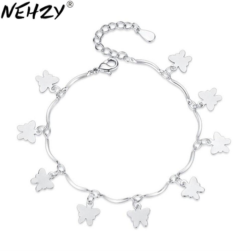 Brand Women Silver Jewelry Bow Silver Bracelet Simple Personality Cute Silver Bracelet Girl Birthday Gift Fashion Luxury 16+4CM